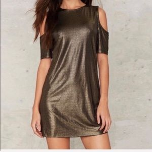 NWT Nasty Gal Gold Cold Shoulder Mini Dress